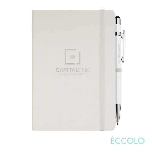 Eccolo® Cool Journal/Atlas Pen/Stylus Pen - (M) White