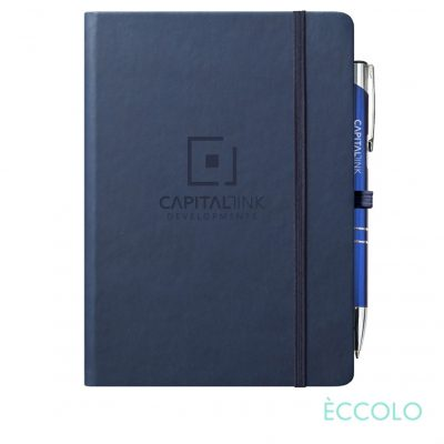 Eccolo® Cool Journal/Clicker Pen - (L) Navy Blue