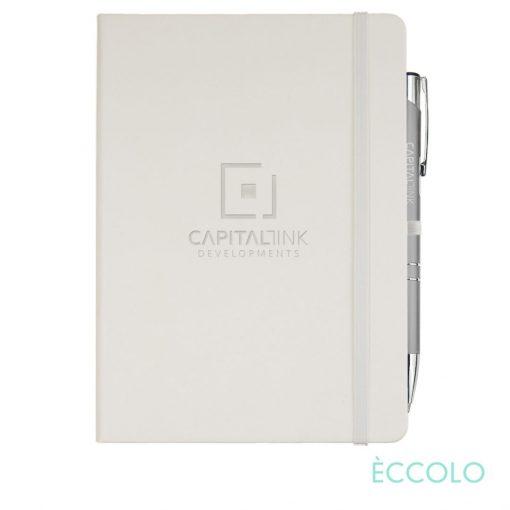 Eccolo® Cool Journal/Clicker Pen - (L) White