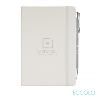 Eccolo® Cool Journal/Clicker Pen - (M) White