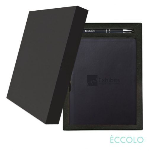 Eccolo® Groove Journal/Clicker Pen Gift Set - (M) Black