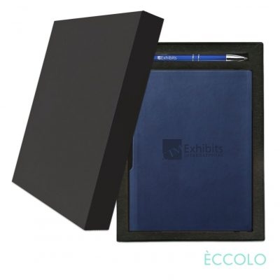 Eccolo® Groove Journal/Clicker Pen Gift Set - (M) Navy Blue