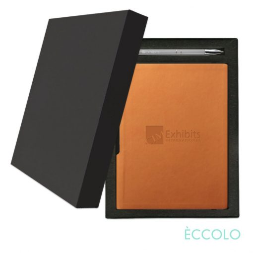 Eccolo® Groove Journal/Clicker Pen Gift Set - (M) Orange