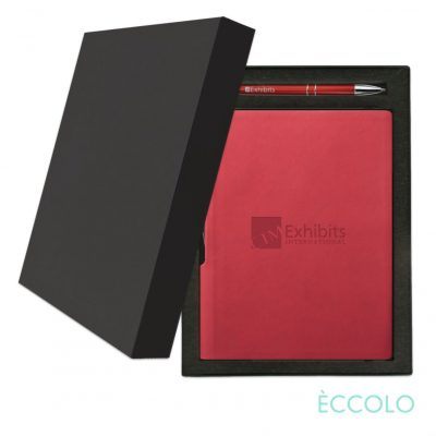 Eccolo® Groove Journal/Clicker Pen Gift Set - (M) Red