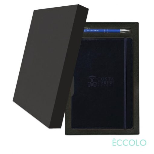 Eccolo® Rhythm Journal/Clicker Pen Gift Set - (M) Navy Blue