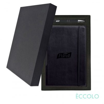 Eccolo® Tempo Journal/Clicker Pen Gift Set - (M) Black