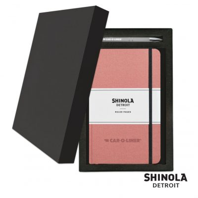 Shinola® HardCover Journal/Clicker Pen Gift Set - (M) Blush Pink