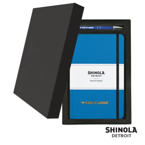 Shinola® HardCover Journal/Clicker Pen Gift Set - (M) Cobalt Blue