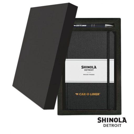Shinola® HardCover Journal/Clicker Pen Gift Set - (M) Jet Black