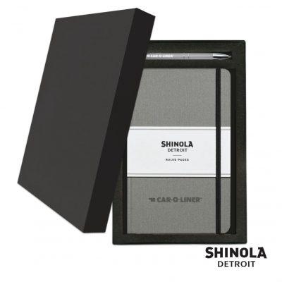 Shinola® HardCover Journal/Clicker Pen Gift Set - (M) Light Gray