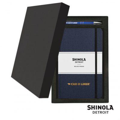 Shinola® HardCover Journal/Clicker Pen Gift Set - (M) Navy Blue