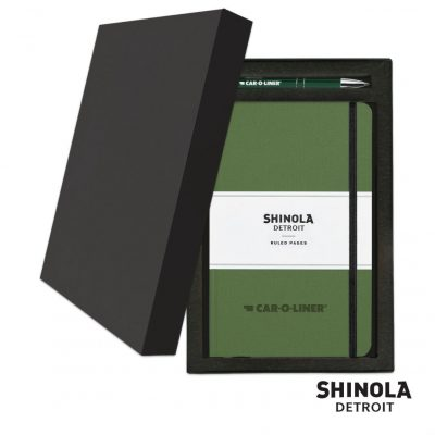 Shinola® HardCover Journal/Clicker Pen Gift Set - (M) Olive Green