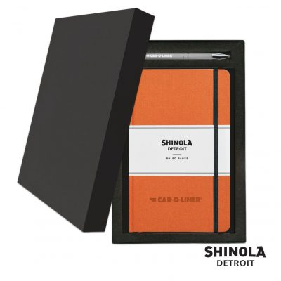 Shinola® HardCover Journal/Clicker Pen Gift Set - (M) Orange