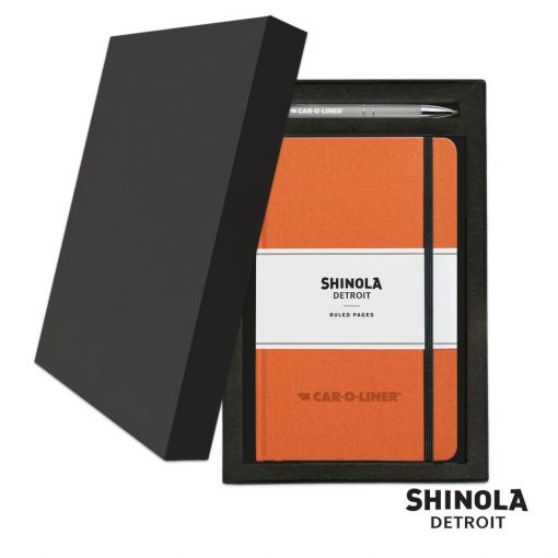 Shinola® HardCover Journal/Clicker Pen Gift Set - (M) Orange