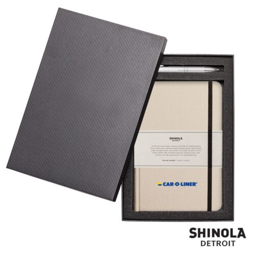 Shinola® HardCover Journal/Clicker Pen - (M) Cream