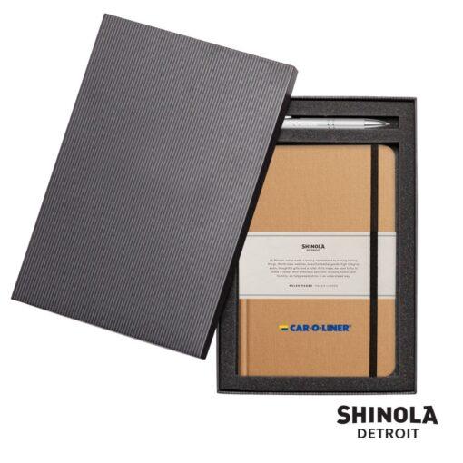 Shinola® HardCover Journal/Clicker Pen - (M) Wheat